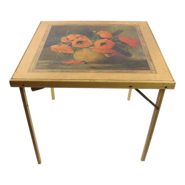 1950s Vintage Bridge Tables & Novelties M Streckenbach Poppy Flowers Table Stand For Sale
