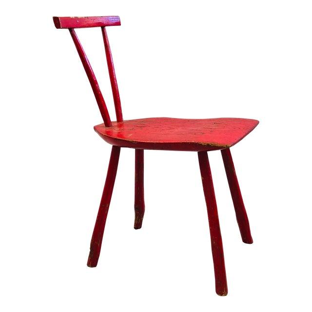 Hand Hewn Oak Side Chair For Sale