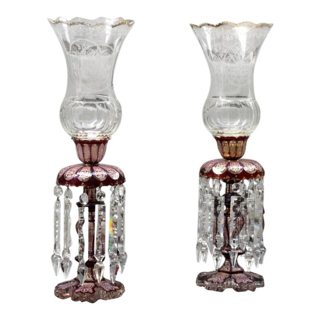 Pair of Late 19th Century Baccarat Cranberry Crystal Lusters with Hurricanes For Sale
