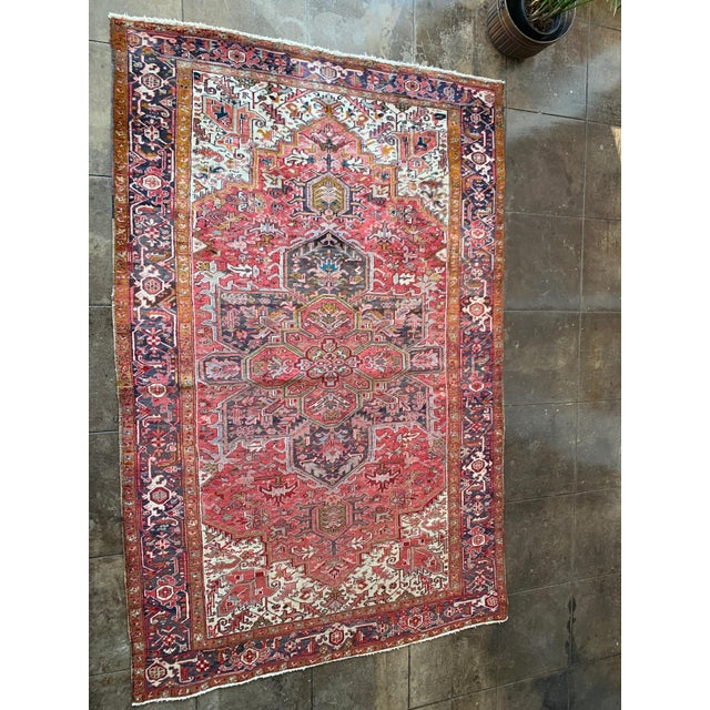 "Red 1940s Persian Heriz Rug 11' 10"" X 7'4"" For Sale - Image 8 of 9"