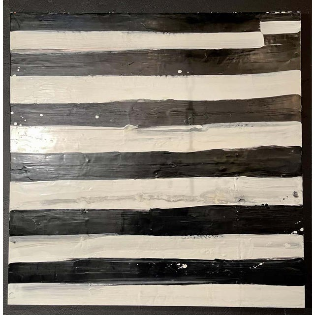 "Lynn Basa Encaustic black and white stripe panel "" Not So Simple"" (signed and dated) 2012, Oil ? beeswax on board. This is..."