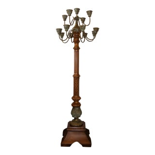 Maitland Smith Carved Wood and Bronze Candelabra Torchiere For Sale