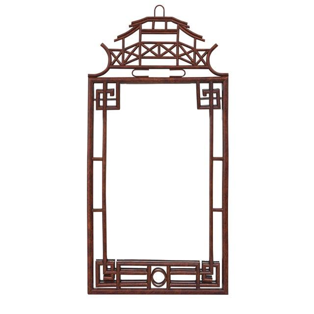 Coastal Pagoda Mirror Large, Brown, Rattan For Sale - Image 3 of 4