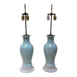 Blue Asian Porcelain Lamps - A Pair For Sale