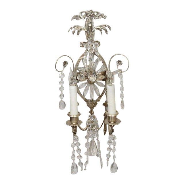 Pair of 19th Century Silver Leaf and Crystal Sconces For Sale