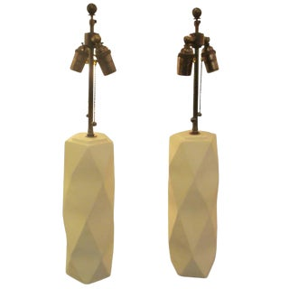 Pair of Cubist Inspired Plaster Lamps For Sale