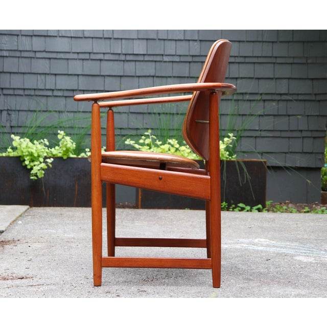 Mid-Century Modern 1960s Mid-Century Modern Arne Hovmand Olsen Teak Back Chair For Sale - Image 3 of 13