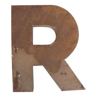 "Vintage 21"" Tall Letter R Industrial Metal Sign"