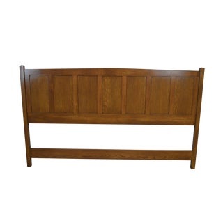 Mission Style Custom Crafted Oak King Size Headboard For Sale