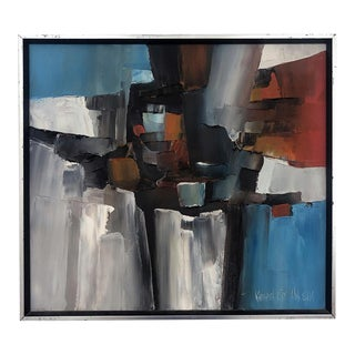 Oil on Canvas: 1960s Abstract Expressionist Painting by California Listed Artist Kenneth Ray Wilson For Sale