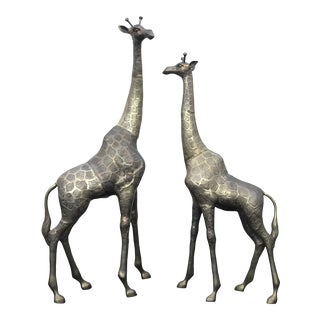 Oversized Brass Giraffes, a Pair For Sale