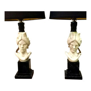 Pair of Period Art Deco French Alabaster and Marble Blackamoor Lamps For Sale