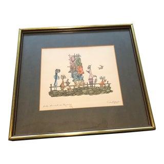 1960s Vintage Guillermo Silva Santamaria Etching Print For Sale