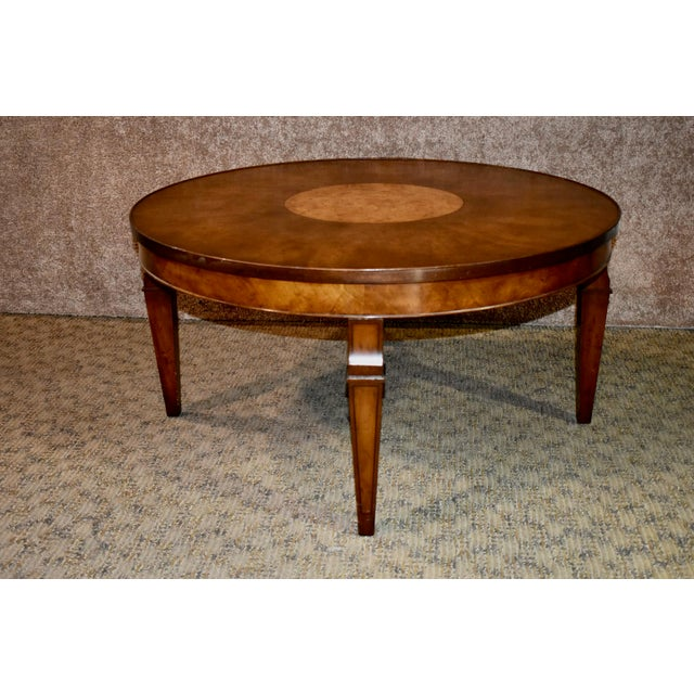 Vintage Old Colony Regency Style Inlaid Lazy Susan Cocktail Table For Sale - Image 9 of 13