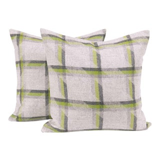 Lime Plaid Lambswool Throw Pillow Cover (Pair) For Sale