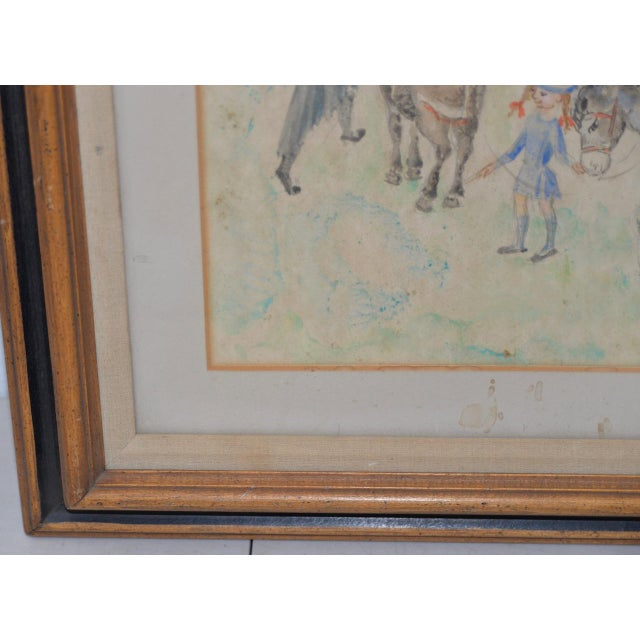 "Mid 20th Century Jean Lareuse ""School Girls on a Donkey Ride"" Original Watercolor C.1950 For Sale - Image 5 of 10"