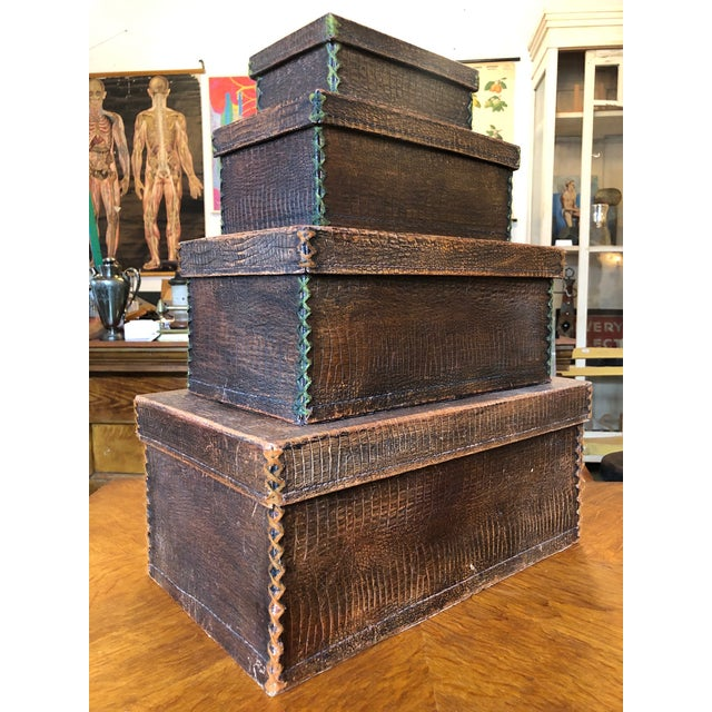 Antique Crocodile Nesting Boxes - Set of 4 For Sale - Image 4 of 13