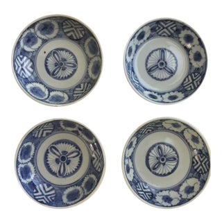 Antique Japanese Blue and White Bowls - Set of 4