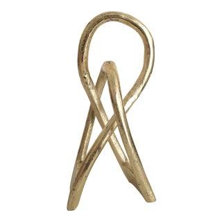 Abstract Metal Modern Art Gold Twist Sculpture