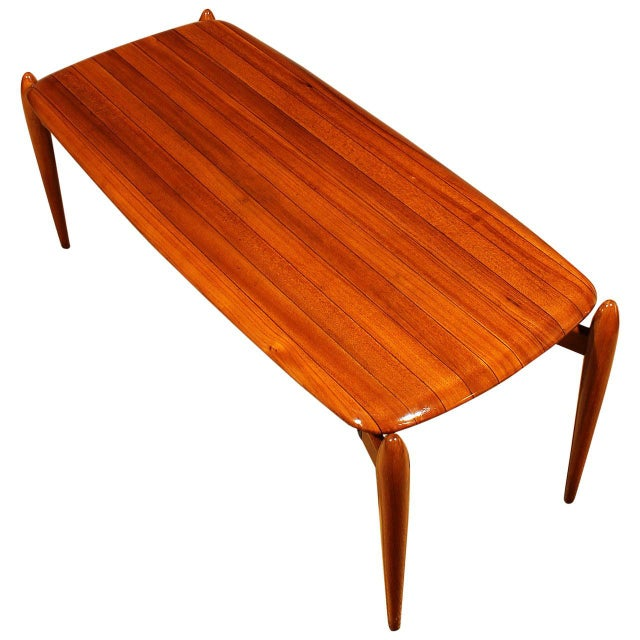Brown 1950s Coffee Table, solid teak with ebony strips, iron, brass hardware - Italy For Sale - Image 8 of 8