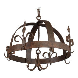 19th Century French Wrought Iron Hanging Pot Rack For Sale