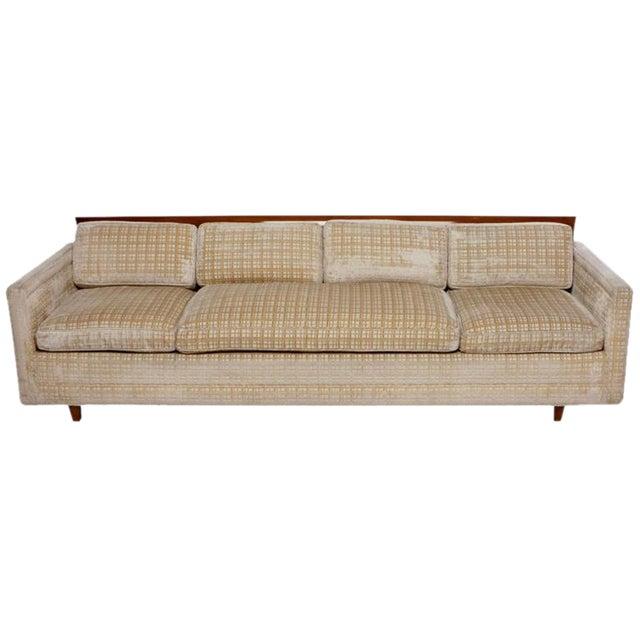 Image of Baker Furniture Walnut & Down-Filled Velvet Sofa.