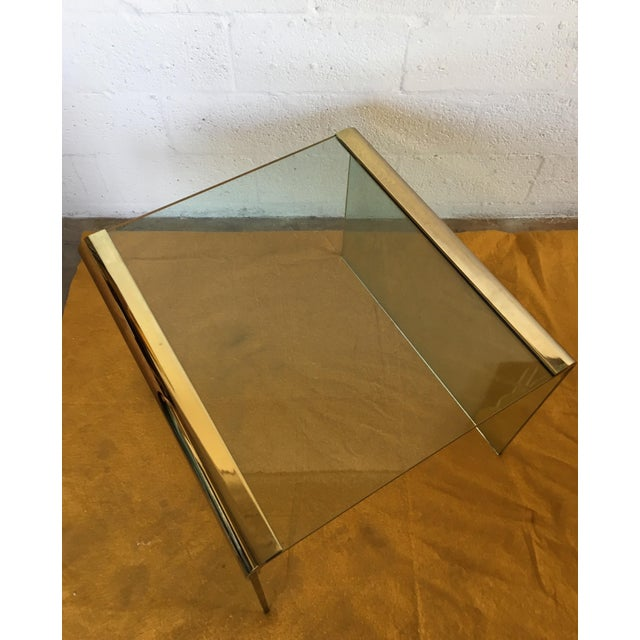 Vintage Leon Rosen Glass and Brass End Table for Pace Collection - Image 3 of 10