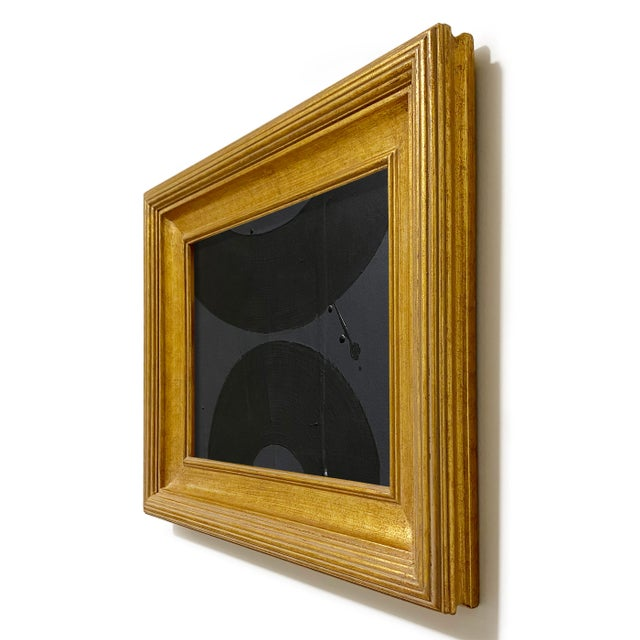 Abstract Ron Giusti Mini Wagasa Charcoal and Black Acrylic Painting, Framed For Sale - Image 3 of 4