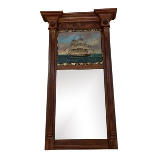 Early 19th Century American Federal Mahogany Looking Glass With Eglomize' Painting of Sailing Ship Trumeau Mirror For Sale