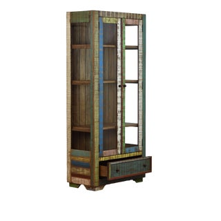 Art Deco Style Reclaimed Wood Curio Display Cabinet