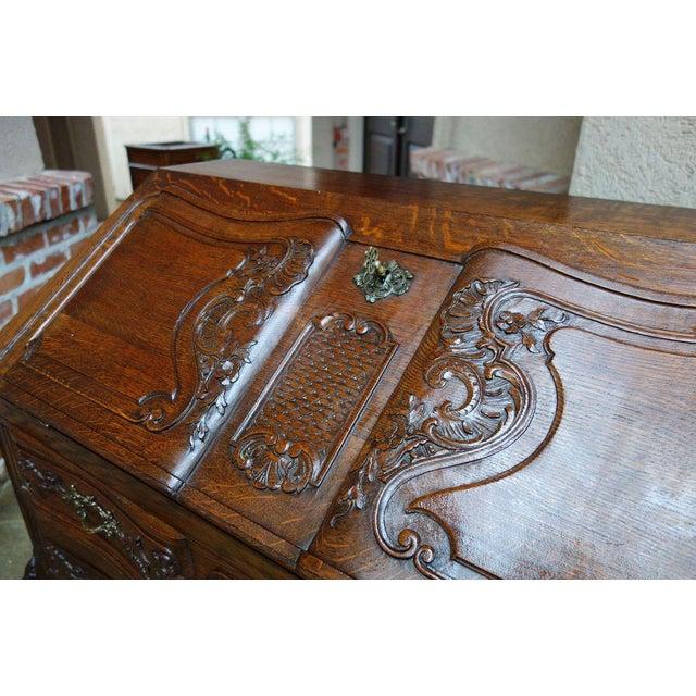 Oak Antique French Carved Oak Secretary Desk For Sale - Image 7 of 11