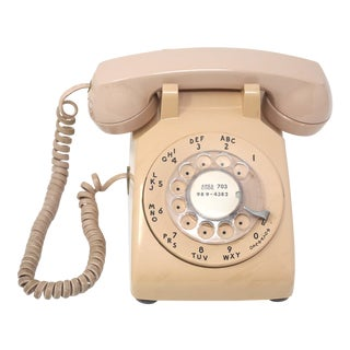Vintage Peach Rotary Desk Phone For Sale