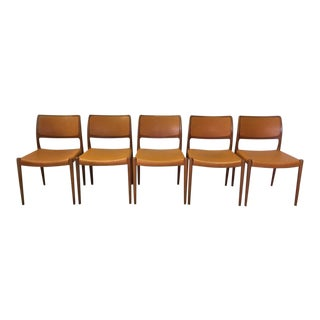 Moller Teak and Leather Dining Chairs Model #80 For Sale