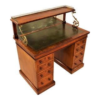 Regency George III Mahogany Kneehole Desk With Shelf For Sale