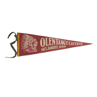 Vintage Olentangy Caverns Felt Flag Pennant