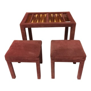 Back Gammon Table and Pair of Benches-Mauve Suede For Sale
