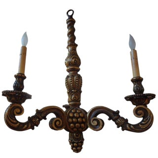 1920s Vintage Italian Gilt Wood Chandelier For Sale