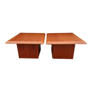 Vejle Stole Mobelfabrik Teak Side End Pedestal Tables ~ a Pair For Sale