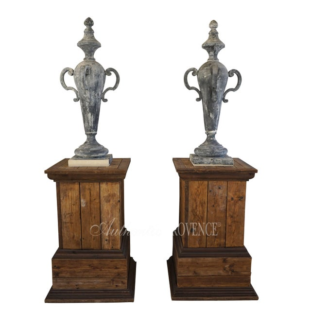 French 19th Century French Napoleon III Zinc Finial Urns - a Pair For Sale - Image 3 of 11