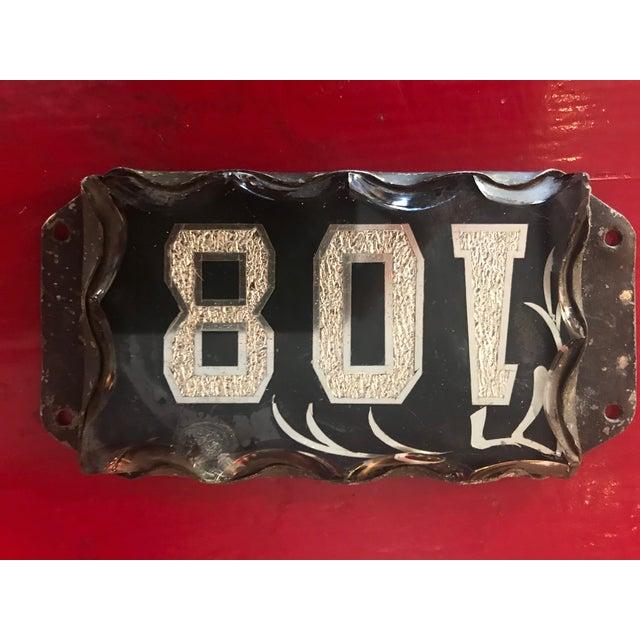 Metal Victorian Era Beveled Glass Address Plaque For Sale - Image 7 of 10