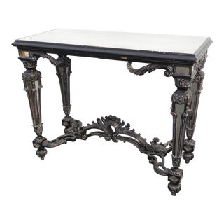 Unique French Style Carved Ornate Black Mirrored Console Table Side Table For Sale