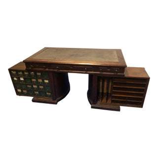 1880s Regency Wooton Rotary Walnut Partner Desk For Sale