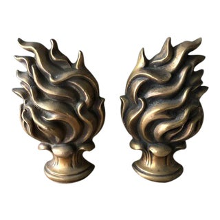 1980s Flame Votive Cast Brass Candle Holders - a Pair For Sale