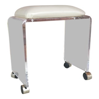 Mid-Century Lucite Stool on Casters For Sale