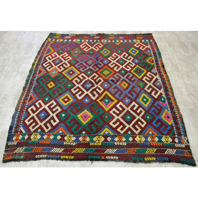 """Vintage Braided Rug. Flat Weave Area Rug - 5' 1"""" X 5' 8"""" For Sale - Image 9 of 9"""