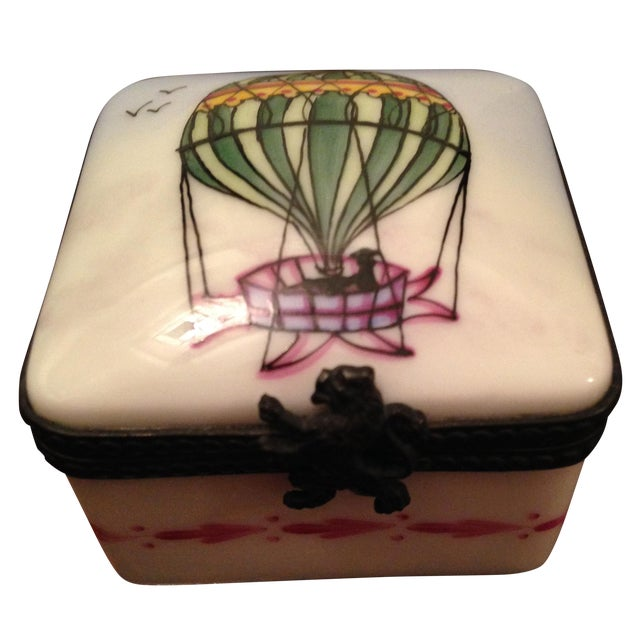 Vintage Limoges Square Hot Air Balloon Box - Image 1 of 5