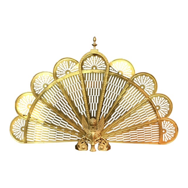 Vintage Retractable Brass Fireplace Screen For Sale