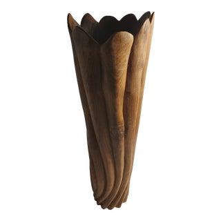 Vintage African Hand Carved African Teakwood Vase For Sale