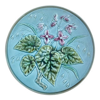 1900s Majolica Pink Flowers Pastel Blue Plate For Sale