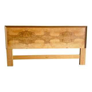 Midcentury Henredon Scene Two Burl Wood King Headboard For Sale